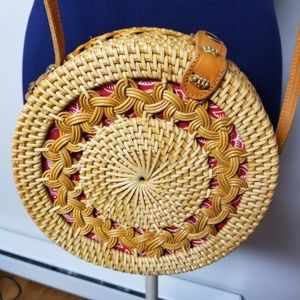 AMERII ROUND RATTAN BAG NATURAL WITH RED & WHITE